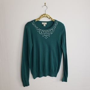 Loft Dark Teal Rhinestone Sweater